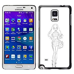 Shell-Star Arte & diseño plástico duro Fundas Cover Cubre Hard Case Cover para Samsung Galaxy Note 4 IV / SM-N910F / SM-N910K / SM-N910C / SM-N910W8 / SM-N910U / SM-N910G ( White Sketch Dress Fashion Pencil )