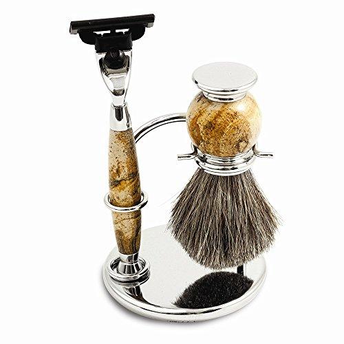 Best Birthday Gift Tan Stone/Chrome Mach 3 Razor Shaving Set