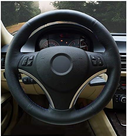 KAIJIFXP Cosido a Mano Negro Artificial PU Cubierta del Volante del Coche del Cuero de Abrigo para BMW E90 320i 325i 330i 335i E87 120i 130i 120d