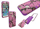 IPHONE 6 SHOCKPROOF CASE, Nue Design Cases TM iPhone 6 (4.7) INCH SCREEN High Impact Rugged Hybrid PINK CAMO TREE PATTERN Silicone & PC Case (PURPLE)