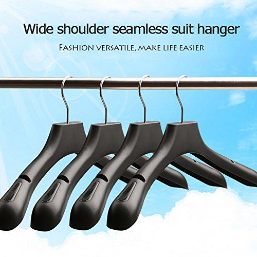 SL&VE Suit hanger, Notched shoulders & swivel hooks Plastic no-slip wide shoulder coat hangers Set of 20-black (Slip Stacker)