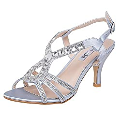 Silver-2 Strappy Heel Sandal With Rhinestones