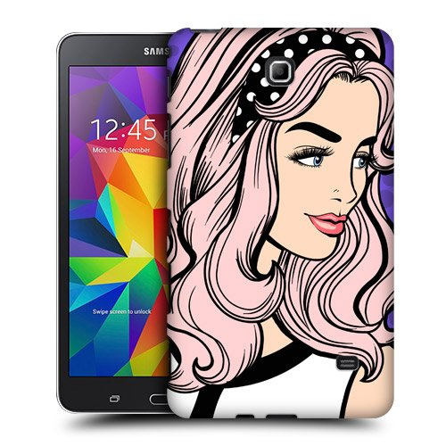 Head Case Designs Pink Hair Graphic Pop Protective Snap-on Hard Back Case Cover for Samsung Galaxy Tab 4 7.0 T230 T231 T235