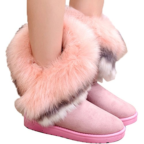 Flat Fur Donalworld Shoes Tassel Suede Ankle Boots Warm Bk2 Womens wwSq0XUF