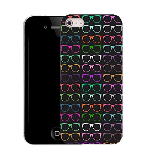 Mobile Case Mate IPhone 4 clip on Silicone Coque couverture case cover Pare-chocs + STYLET - black sunglasses pattern (SILICON)