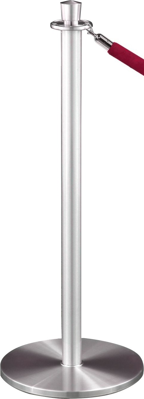 Glaro 1327SA-N3WINESA6 Crown Top Stanchion - Satin Aluminum finish - 6' Wine Velour Rope Included by Glaro