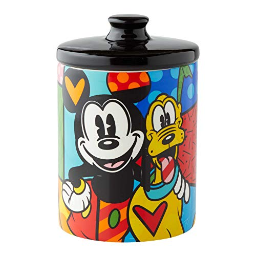 Enesco 6004977 Disney by Britto Mickey Mouse and Pluto Cookie Jar Canister, 6 Inch, Multicolor ()