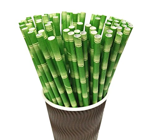Paper Straws, Pack of 100 Bamboo Stem Print Biodegradable Straws for Party Supplies, Birthday, Wedding, Bridal, Baby Shower Decorations and Celebrations