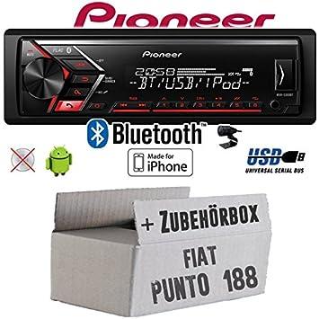 Fiat Punto 188 - Radio de Coche Radio Pioneer s300bt - Bluetooth | MP3 | USB | Android | iPhone 4 x 50watt Juego de Instalación de Accesorio - Instalación: ...