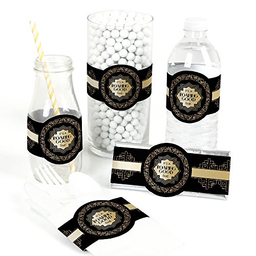 Roaring 20's - DIY Party Supplies - 1920s Art Deco Jazz Party DIY Wrapper Favors & Decorations - Set of 15