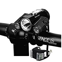 Bright Bicycle lights,2 auxiliary lights 180 °,5000 Lumen Rechargeable Headlight headlamp Torch Bike Light Front.4 Modes 3 CREE XM-L2 T6 TAIL LIGHT INCLUDED Waterproof Cycling Safety Flashlight