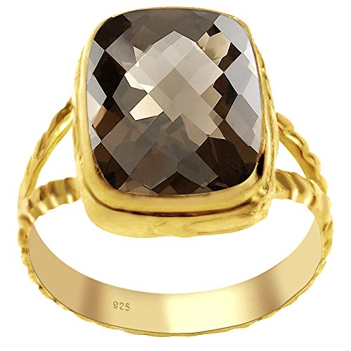 Orchid Jewelry Genuine Smoky Quartz 14k Gold Overlay 925 Sterling Silver Ring for Women and Girls, Fashion Ring, Perfect for Engagement, Anniversary, Wedding, Box (4.95 Cttw, 14x10 MM Cushion) ()