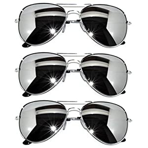 3 Pairs Classic Aviator Style Sunglasses Metal Frame Colored Lens (avi-3p-silver-silver, Colored)