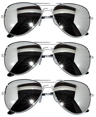 3 Pairs Classic Aviator Style Sunglasses Metal Frame Colored Lens (avi-3p-silver-silver, -