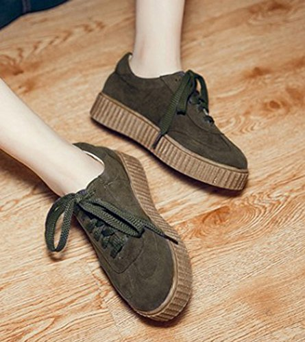 Low Flat Aisun Dark Up Thick Womens Sole Toe Casual Round Green Cut Platform Shoes Lace Sneakers qq4UwYR