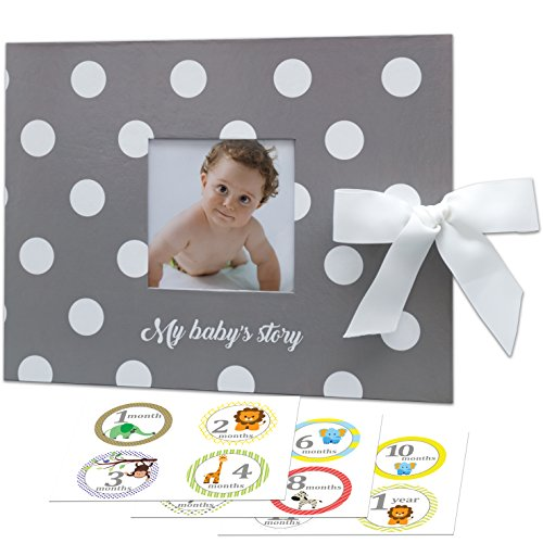 Little Baby Memory Book + Monthly Stickers & Gift Box. First 5 Years Unisex Keepsake Journal, Scrapbook, Photo Album. Record Babies Milestones. Modern Baby Shower Gift Set for Boys or Girls, Gray (Book Baby Personalized Memory)