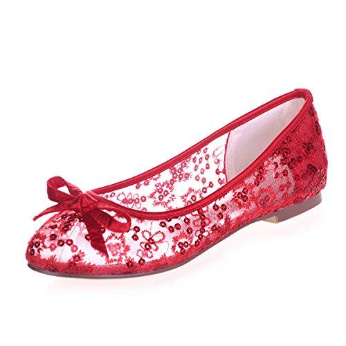 Fanciest Women's Lace Bridal Wedding Party Evening Sequin Ballet Flats Pump Shoes 9872-24 Red a6lt1BH