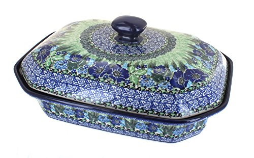 - Blue Rose Polish Pottery Sapphire Fields Large Covered Baking Dish