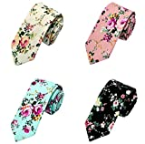 Men's Fashion Causal Cotton Floral Printed Tie Necktie Skinny Ties for Men Pack of 4