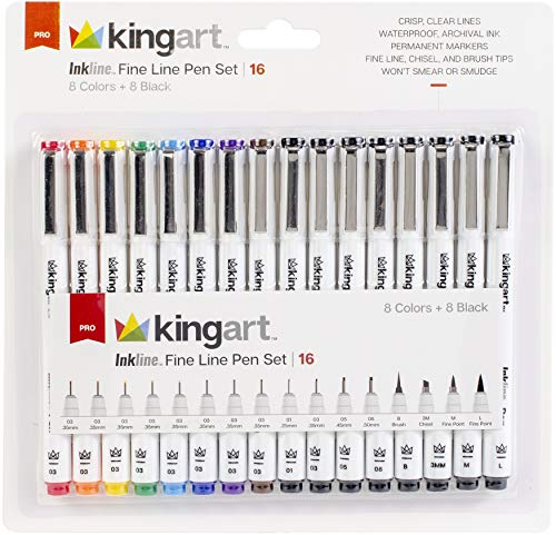 KINGART 436-16 Inkline Fine Line Pen Set (Mixed Point Sizes/Colors and Brush Tips), Set of 16 Piece ()