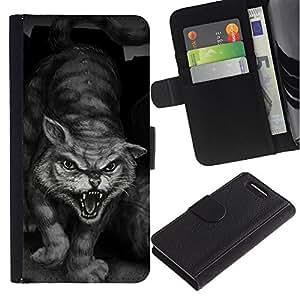 Painting Tiger Wild Cat Monster Hero - la tarjeta de Crédito Slots PU Funda de cuero Monedero caso cubierta de piel Sony Xperia Z1 Compact D5503
