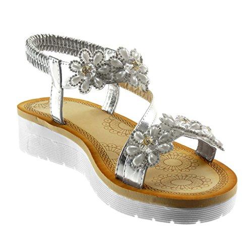 Angkorly Zapatillas Moda Sandalias Correa de Tobillo Slip-On Plataforma Mujer Flores Strass Tanga Plataforma 3.5 cm Plata