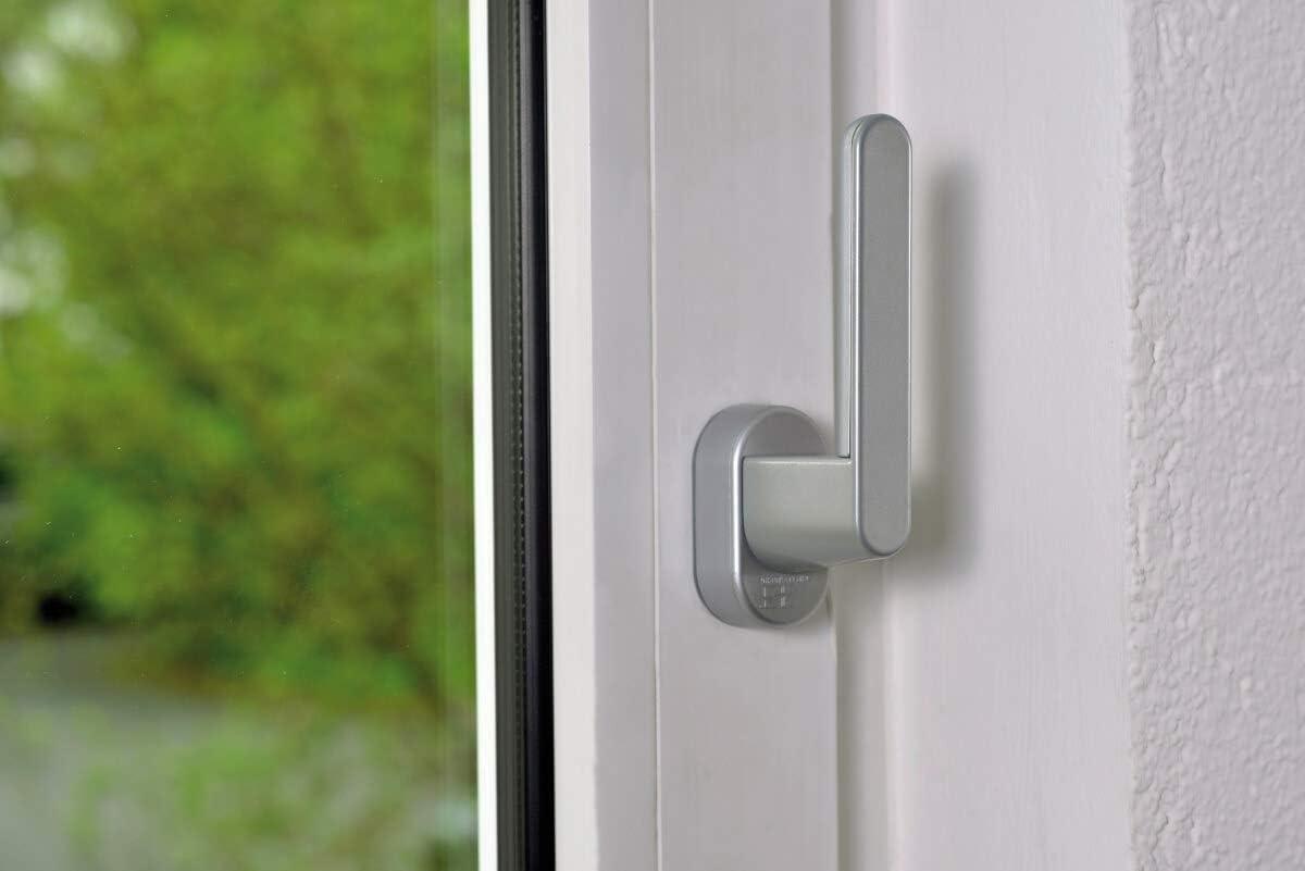 Balkont/üren und Terrassent/üren – 32 mm Schellenberg 46508 Sicherheits-Alarmgriff in Silbergrau f/ür Fenster