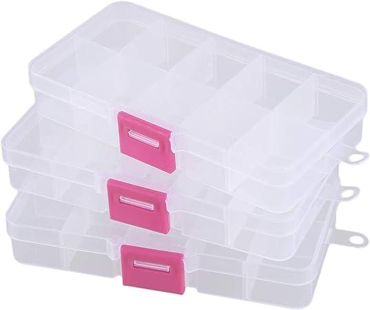 WOVELOT 3pzs Juego de Piezas de componentes electronicos de 10 Rejillas Caja Estuche de almacenaje de plastico: Amazon.es: Hogar