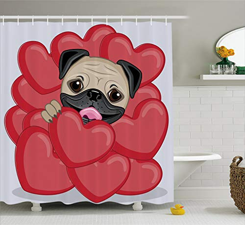 Ambesonne Pug Shower Curtain, Love Valentines Inspired Dog Drawing with Huge Hearts and Cute Pet Hand Drawn,Fabric Bathroom Decor Set with Hooks, 75 inches Long, Pale Brown
