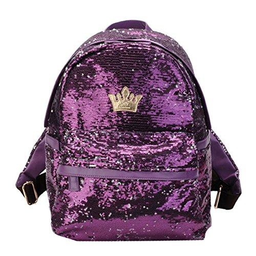 Travel Rucksack School Satchel Women Girls MEGA Sequins Purple Paillette Backpack Bag Sparkling Fashion Student Z7vxT0xqn