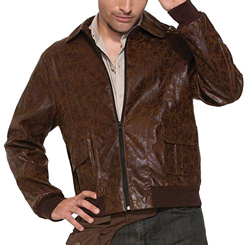 Mens Bomber Pilot Costume (1940's Bombers and Bombshell Costume Jacket Mens Brown Faux Suede World War 2)