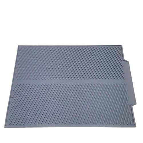 Self Draining Silicone Drying Mat. 17 x 13 inches 0.71 lb | Dish and Glassware Sloped Board Silicone Tray in Grey. Anti-Bacterial, Dish Washer Safe. Heat Resistant Trivet by KeepingcooX