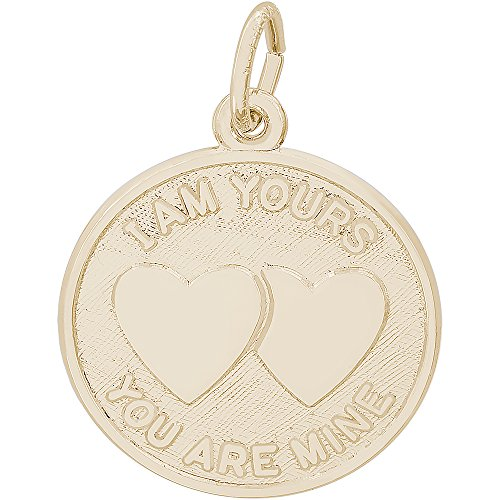 Rembrandt Charms 10K Yellow Gold I Am Yours Hearts Charm (0.77 x 0.77 inches) by Rembrandt Charms