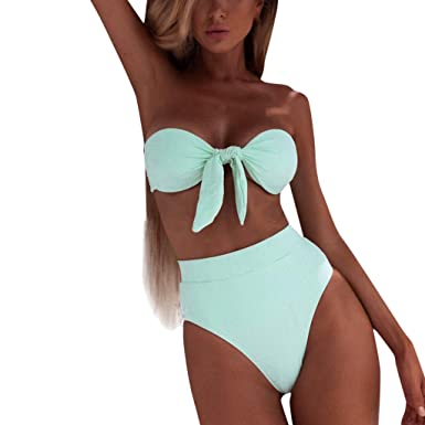 53e64b51bb3 Kinglly Women's Solid Color Off Shoulder Ruffle Bandeau One Piece Bathing  Suit at Amazon Women's Clothing store: