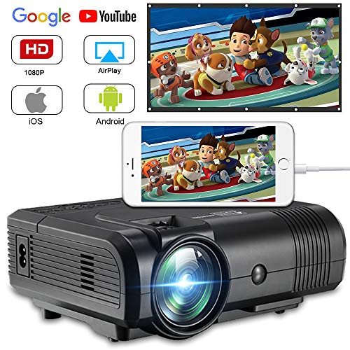 Projector, Weton 2200 Lumens Video Projector 1080P Mini Projector LED Portable Projector Multimedia Home Theater Movie Projector Support HDMI, USB, VGA, AV for iOS Android Smartphone (Plug and Play)