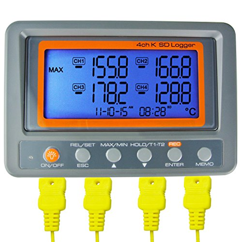 AZ Instruments 4 Channel K Type Thermometer SD Card Data Logger Thermocouple Temperature + 2 Bead Type K-Thermocouple Probe (Main Unit A0188598)