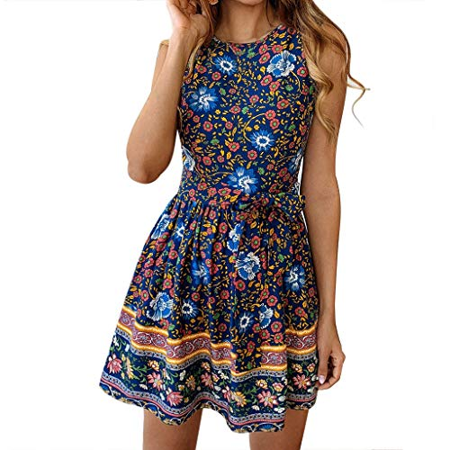 (【MOHOLL】 Women Vintage Floral Sleeveless Casual Round Neck A-Line Party Dress Belt Blue)