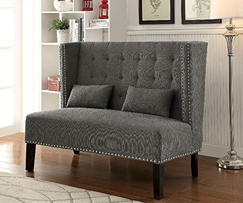 Fenwick Modern 55.5 inch Long Banquette Loveseat Bench in Grey Fabric (Dining Banquette)