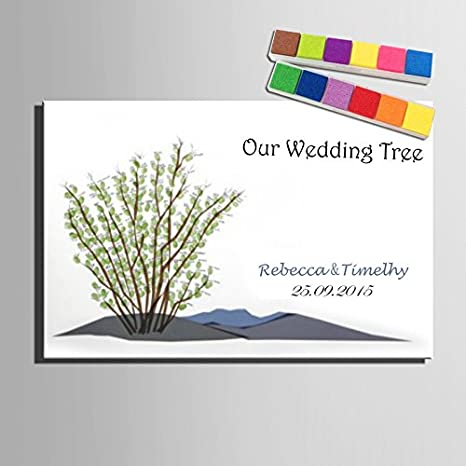 Huellas verde boda libro de invitados con 12 colores de tinta de ...