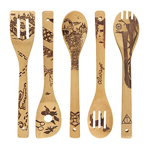 Harry Burned Wooden Spoons Potter Utensil Set Funny Gift Idea Cooking Serving Utensils 100% Bamboo All-Natural, Kitchen House Warming Gifts Slotted Spoon 5 Piece -