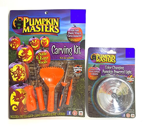 Pumpkin Masters 5 Piece Carving Kit and Color Changing Light Bundle]()