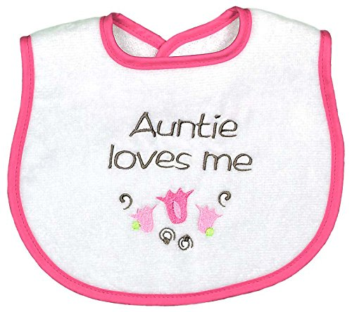 Raindrops Auntie Loves Me Embroidered Bib, Strawberry/Hot Pink