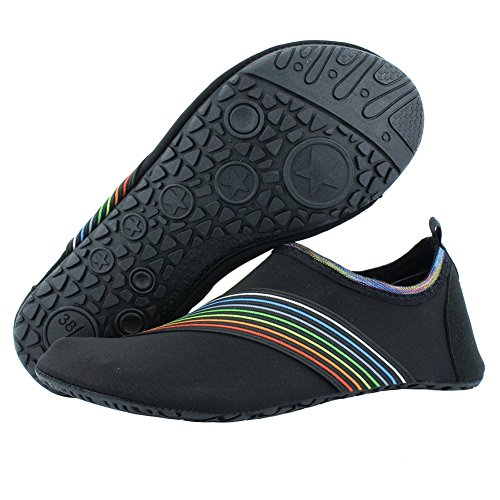 SENFI Water Shoes Unisex Barefoot Outdoor Athletic Aqua Shoes for Beach Pool Surf Exercise (Men/Women),NT01,01black,42.43 (Best Shoes To Wear On The Beach)
