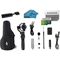 DJI OSMO Plus Camera Bundle - UHD 7x Handheld Fully Stabilized 4K 12MP Camera 3-Axis Gimbal Everything you Need Kit, with 64GB Micro SD Card + DJI Case + DJI FlexiMic + UV Filter + Lens Cap and More