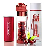 MAMI WATA Fruit Infuser Water Bottle – Beautiful Gift Box – Unique Stylish Design - Free Fruit Infused Water Recipes eBook and Insulating Sleeve – 24oz (Caliente)