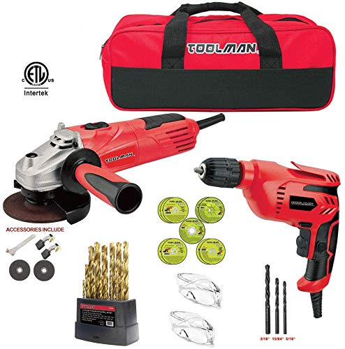 Lion Tools DB5027-5207A Toolman 44pcs Electric Angle Grinder Disc Side Grinder 4-1//2 4.8 Amps /& Cut off Wheel with Safety Goggle Glasses and Tool bag for cutting grinding metal or stone