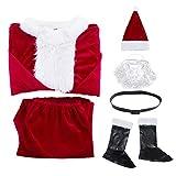 Christmas Santa Claus Costume Set Mens Deluxe Santa Suit