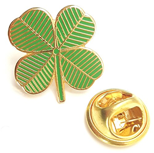 Ireland 4 Leaf Clover Lucky Charm Enamel Pin Badge with Gift Pouch
