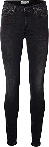 SELECTED FEMME Sfelena Mr 1 Jeans Aged Black Noos, Mujer