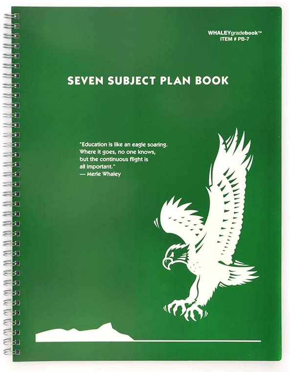 Whaley Planbook (9 x 12 inches) 7-Subject Book For Lesson Plans, Attendance And Seating Chart, 40 Weeks (PB-7)